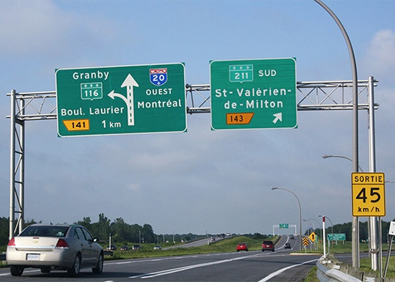 Overhead sign on a highway (Gantry)