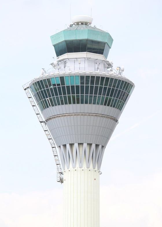 Box ladder on flight control tower